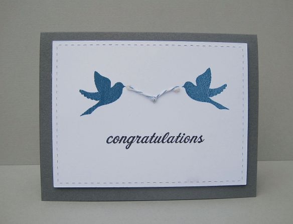 {Congratulations} Stamps: Happy Trails/Enjoy the Ride (PTI) Ink: Enchanted Evening/Versafine Black Card: Grey (SU), White (PTI) Other: Bakers Twine (American Crafts)