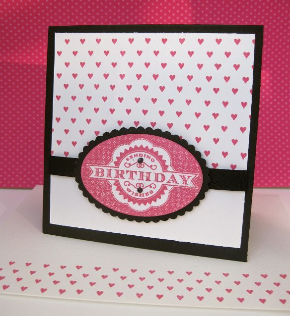 Stamps: Birthday Tags 2012/Background Basics: Heart Ink: Raspberry Fizz Card: Basic Black/White Other: Oval dies/Black grosgrain ribbon